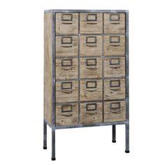 Chiffonnier 15 tiroirs Loft en bois et métal Jardin d'Ulysse - 83.42.150 - 749€ - decoclico.fr