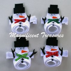Snowman Ribbon Sculpture Hair Clip or Pin by Magnificence on Etsy, $4.00