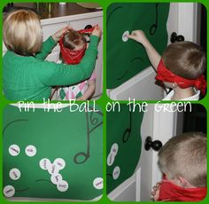 Golf party game - pin the ball on the green
