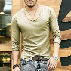 Plus Size Deep V Neck T Shirt Men Long Sleeve T Shirts Gym Fitness T Shirt New Brand Outdoor Solid Undershirt 2015 Awesome T Shirts For Sale White T Shirts With Designs From Minicon, $13.56| Dhgate.Com