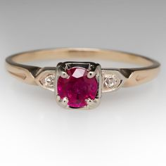 Anel de rubi Vintage w Ouro / Diamond Acentos 14K