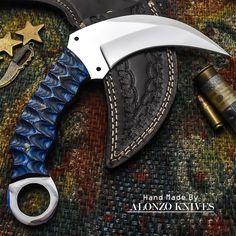 ALONZO KNIVES USA CUSTOM HANDMADE TACTICAL KARAMBIT 1095 KNIFE PAKKA WOOD 1108 #AlonzoKnives