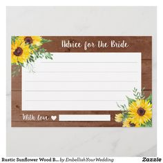 Rustic Sunflower Wood Bridal Shower Advice Cards Bridal Shower Advice, Advice Cards, Personal Photo, Zazzle Invitations, Card Sizes, Party Supplies, Wedding Decorations, Rustic, Bride