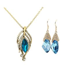 Trendy Mela Presents Beora Gold Plated Sea Blue Crystal Pendant Necklace Set. Visit Us For More Trendy Jewellery @ Trendymela.com