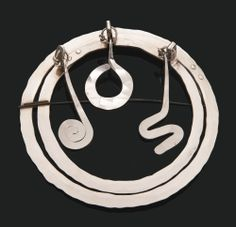 "Alexander Calder - brooch silver and steel wire. 4.75 x 4.75 x 1.25"" ca. 1940"