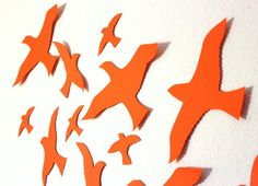 Flying Birds Wall Decor 3d bird wall art - black wall art - paper birds - bird wall decor