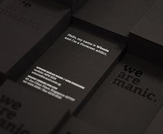 We Are Manic. Black Business Cards with Foil Stamping. Foil Business Cards, Business Card Maker, Black Business Card, Business Card Design, Creative Business, Stationery Design, Branding Design, Stationery Printing, Brochure Design