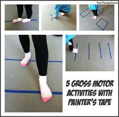 Your Therapy Source: 5 Gross Motor Activities with Painters Tape. Pinned by SOS Inc. Resources. Follow all our boards at pinterest.com/sostherapy for therapy resources.