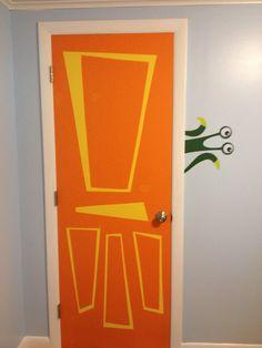 Monsters Inc. inspired door in my baby's nursery.