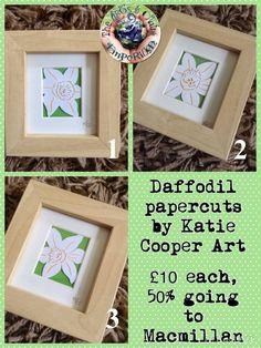 Miniature Daffodil papercuts by Katie Cooper of Katie Cooper Art https://www.facebook.com/media/set/?set=a.852701888139764.1073741864.664237603652861&type=3