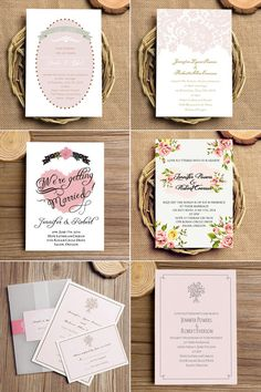 "Top 10 Pink Blush Wedding Invitations with Free RSVP Cards// Use coupon code ""CVB"" to get 10% off towards all the invitations. #elegantweddinginvites"