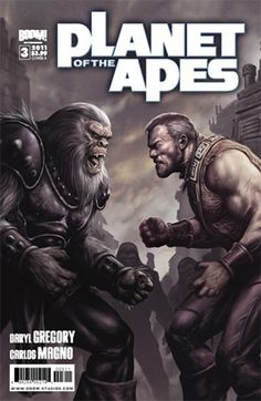 Issue: Planet of the Apes #3 Release Date: June 22, 2011 Author: Daryl Gregory Artist: Carlos Magno Colors: Nolan Woodard Letters: Travis Lanham Cover A & C: Karl Richardson Cover B: Carlos Magno (Colors: Ander Zarate) Publisher: BOOM! Studios When you think about it, there's good POTA and there's bad POTA. This little gem almost has everything you could want from the POTA franchise: scantily clad warrior women, heroic sexy manly men, a weighty political subtext, and, most importantly…
