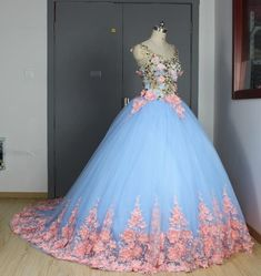 Baby Blue 3D Floral Masquerade Ball Gowns 2017 Cathedral Train Flowers Debutante Quinceanera Dresses Sweety Girls 15 Years Dress Sweet Sixteen Dresses, Sweet 15 Dresses, Puffy Dresses, Baby Blue Dresses, Blue Ball Gowns, Quince Dresses, Cute Dresses, Prom Dresses, Wedding Dresses