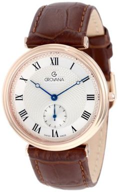 Grovana Men's 1276.1568 Retrograde Rose Gold Analog Silver Watch Grovana. $450.00. •Swiss Quartz movement•Guilloche dial•Sub sweep second hand dial•Blued hands•Water-resistant to 99 feet (30 M)