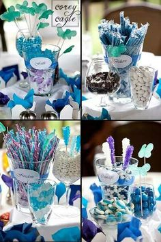 bridal shower centerpiece ideas, bridal shower centerpieces, blue bridal shower centerpieces, blue and white bridal shower centerpieces Bridal Shower Centerpieces, Wedding Reception Centerpieces, Flower Centerpieces, Wedding Decorations, Centerpiece Ideas, Wedding Ideas, Edible Centerpieces, Wedding Fun, Wedding Things
