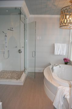 House of Turquoise: Guest Blogger: Ann  (love the stone shower floor with glass walls)