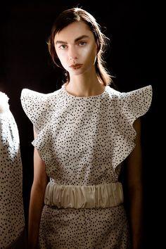 Spot print dress with frill detail; monochromatic fashion // DROMe AW16