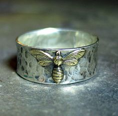 Bee Ring in Sterling Silver  Bee My Honey ...from LavenderCottage on Etsy