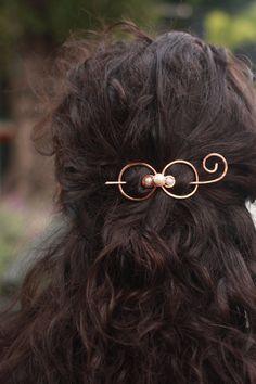 Metal hair bow hair barrette hair spirals hair clip by Kapelika