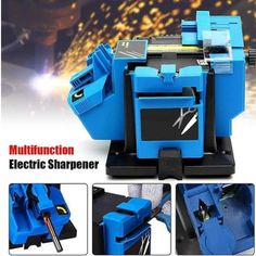 Knife & Scissor Sharpener - Sharpens all straight edged knives & scissors. No-load speed: 1350 rpm. -Chisel & plane sharpener - Regrinds chisel & plane blades from to wide. -HSS drill sharpener - Sharpens all high speed steel drill bits from to Professional Knife Sharpener, Electric Sharpener, Drill Bit Sizes, How To Sharpen Scissors, Industrial Electric, Knife Sharpening, Diy Tools, Hobby Tools, Tools And Equipment