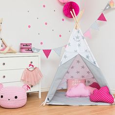 Teepee Kids Play Tent Tipi Bright Gray by FUNwithMUM on Etsy
