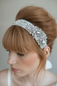Bridal rhinestone headband Rhinestone adorned silk by myrakim, $210.00