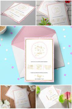 Printable Glitter Blush and Gold Wedding Invitation