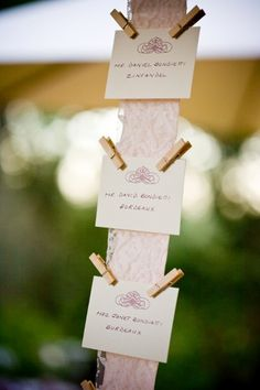 escort card ideas from Bella Celebrations