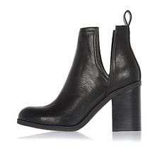 Black cut-out side heeled ankle boots - ankle boots - shoes / boots - women