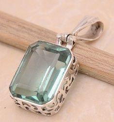 "Green Quartz .925 Sterling Silver Jewelry Pendant 1.4"" #silverjewelry"