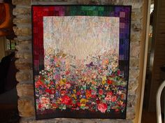 Impressionist Watercolor Window Box, with 3D butterflies, floral quilt wallhanging