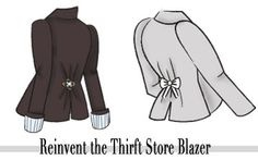 Cheap & Chic DIY: 2 Ways to Reinvent a Thrift Store Blazer – College Fashion – Gaby – Thrift Store Crafts Sewing Hacks, Sewing Tutorials, Sewing Crafts, Sewing Projects, Sewing Patterns, Old Clothes, Sewing Clothes, Diy Accessoires, Diy Vetement