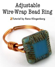 Fab adjustable wire wrapped ring tutorial (free) by Rena Klingenberg. Thank you Rena!