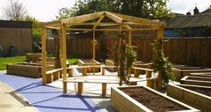 A large octagonal pergola with built-in benches was constructed as a pleasant outdoor 'classroom' with scented climbers providing shade. Perfect for engaging children in gardening. Gazebo Pergola, Outdoor Gazebos, Pergola With Roof, Pergola Kits, Outdoor Classroom, Outdoor School, Outdoor Life, Classroom Ideas, Outdoor Learning Spaces