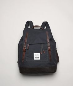 An outdoorsy urban take on Ally's classic bags.   The Norse Projects by Ally Capellino Fjell rucksack is constructed of British waxed cotton and premium leather and feature a hickory lining with a laptop pocket tailored to a 15' macbook.
