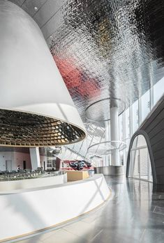 aoe reimagines chinese office building with colored objects clashing into glass facade Interior Exterior, Interior Architecture, Interior Design, Gray Interior, Interior Doors, Design Design, Design Ideas, Art Deco, Sales Office