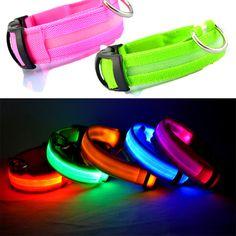 Collar de Perro de Nylon Para Mascotas Led Nocturna de Seguridad Light-up Flash Glowing en la Oscuridad Collar Del Gato LED Collares de Perro Perros Pequeños Perro Accesorios