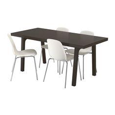 VÄSTANBY/VÄSTANÅ / LEIFARNE Table and 4 chairs, dark brown, white