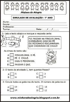 SIMULADO DE PORTUGUÊS 1º ANO, ALFABETIZAÇÃO, (AGOSTO 2014)-Mistura de Alegria