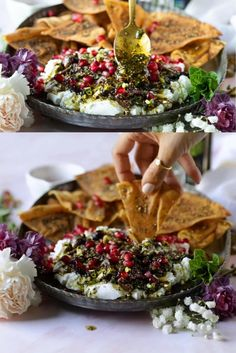 You simply cannot miss out on this Labneh. It's a Labneh Dip with Zaatar Pistachio Mint Olive Topping! Sprinkled with fresh pomegranate seeds and served with pita chips – this easy labneh recipe is the perfect appetizer or can be served as part of a mezze platter drenched in Moroccan Olive Oil.
