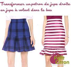 Patron de couture : une jupe droite avec un volant dans le bas