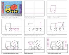 How to draw a Cement Truck. Free PDF tutorial from Art Projects for Kids. #howtodraw #directdraw
