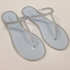 jelly sandals jellies with silver glitter and rhinestone strap. new/never worn. no box. Bamboo Shoes Sandals