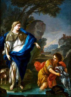Studio of Sebastiano Conca (1680-1764): Tobias and the Angel. 18th century.