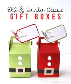Make some jolly Elf and Santa Claus holiday gift boxes with the Cricut Maker