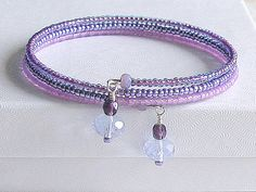 Lavender/Lilac Seed Bead Wrap Bangle Bracelet with by 2Cr8Beading, $25.00