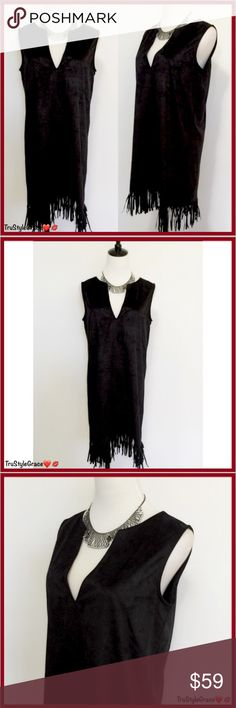 ❤️ Boho Chic Black Faux Suede Fringe Hem Dress Boho Chic Black Faux Suede Fringe Hem Dress  Dress Up or Down!! Love it!!! 😍😍😍  Features: •Boho Chic •Front V-Neck •Fringe Hem •Suede Look & Feel •Pull On Style  Color: Black Fabric: 100% Polyester Care instructions: Hand Wash Cold  Sorry, No Trades 🚫 Individual Boutique Prices are Firm  Bundle to Save & for Your Exclusive Private No Obligation Offer 💝 Thanks for Sharing 😘 Happy Poshing Dresses