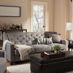 Wadsworth Modern and Contemporary Fabric Upholstered Button-Tufted Living Room 3 Seater Sofa