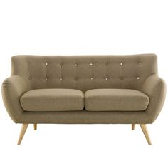 This mid-century modern loveseat comes in an array of retro colors, adding to the fun style of your living room. This fabric loveseat uses 100 percent polyester, giving you soft and comfortable seatin