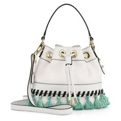 Milly Whipstitch Tassel Small Leather Drawstring Bag ($277) ❤ liked on Polyvore featuring bags, handbags, satchels, white, genuine leather handbags, white leather purse, white handbags, leather purses and white drawstring bag